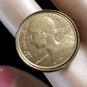 Vintage Repurposed French Coin Adjustable Ring